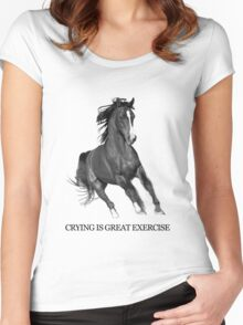 Crying Is Best Exercise - Horse Ebooks Women's Fitted Scoop T-Shirt