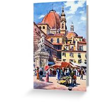 Market day at Piazza San Lorenzo Florence Firenze Italy Greeting Card
