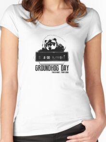 Groundhog Day  Alarm Clock  Punxsutawney T-shirt Women's Fitted Scoop T-Shirt