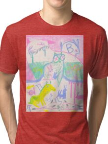 Pastel Roadkill Party with Owl and friends!  THE AFTERPARTY Tri-blend T-Shirt