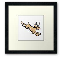 Jackalope Jumping Side Cartoon Framed Print