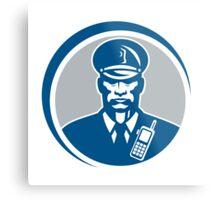 Security Guard Police Officer Radio Circle Metal Print