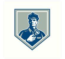Security Guard Flashlight Shield Retro Art Print
