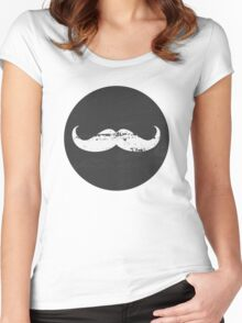 Chalkboard Mustache Pattern Women's Fitted Scoop T-Shirt