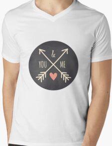 Chalkboard Arrows & Heart Mens V-Neck T-Shirt
