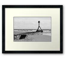 Black and White Beach Scene Framed Print