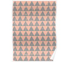 Gray and Salmon Triangles Pattern Poster