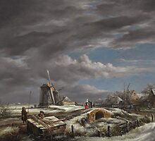 Winter landscape with figures on a path by Bridgeman Art Library