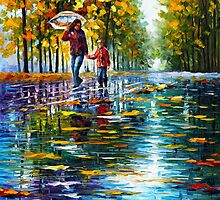 STROLL IN A AUTUMN PARK by Leonid  Afremov