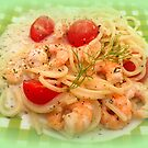 Spaghetti with shrimps in creamy white wine sauce  by ©The Creative  Minds