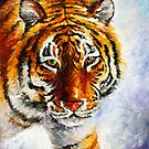 TIGER ON THE SNOW by Leonid  Afremov