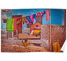Colorful scene from indian street life Poster