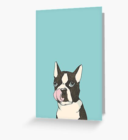 Hungry Boston Terrier (Black) Greeting Card