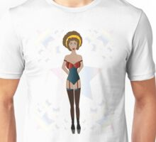 Sexy brunette woman with stars background  Unisex T-Shirt