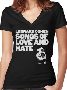 Leonard Cohen - Songs of Love and Hate Women's Fitted V-Neck T-Shirt