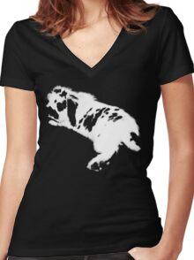 Rabbit White Women's Fitted V-Neck T-Shirt