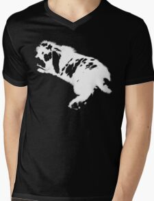 Rabbit White Mens V-Neck T-Shirt