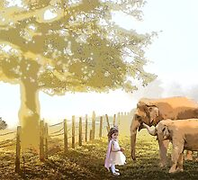 Misty Morning Princess with Elephants by fairytaleart