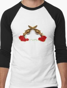 Gun With Roses Men's Baseball ¾ T-Shirt
