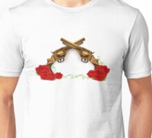 Gun With Roses Unisex T-Shirt