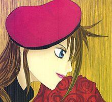 Manga card - Girl with roses by debzandbex