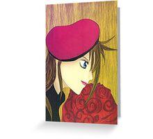 Manga card - Girl with roses Greeting Card