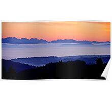 The Suisse Alps and the French Alps seen from the Black Forest near our home Poster