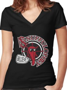 Snuffuloffogy - Believe Women's Fitted V-Neck T-Shirt