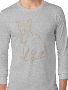 Sketchy cat minimal outline in tan color Long Sleeve T-Shirt