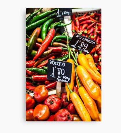 Red and green peppers hung Canvas Print