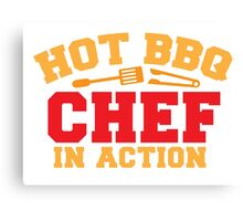 HOT BBQ chef in action Canvas Print