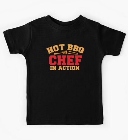 HOT BBQ chef in action Kids Tee