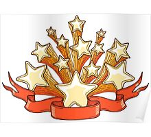 Dooddle Gold Stars and Red Banner Poster