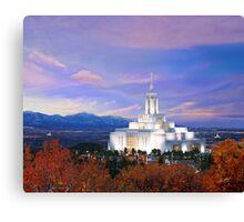Draper Temple at Sunset 20x16 Canvas Print