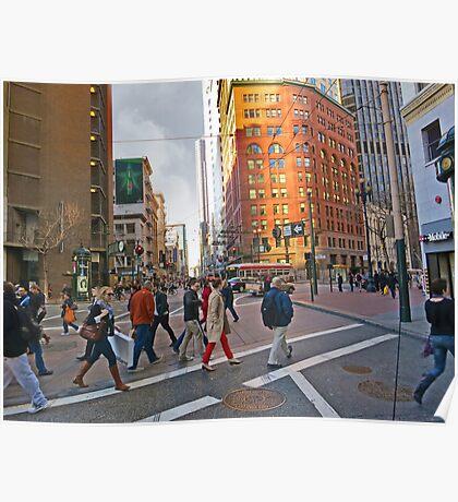 Market Street Evening Rush Hour Poster