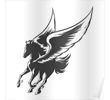 Engraving Winged Horse Poster
