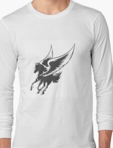 Engraving Winged Horse Long Sleeve T-Shirt