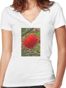 Red Bottle Brush Women's Fitted V-Neck T-Shirt