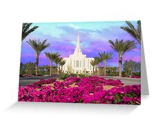 Gilbert Arizona Temple - Red Flowers - 30x20 Greeting Card