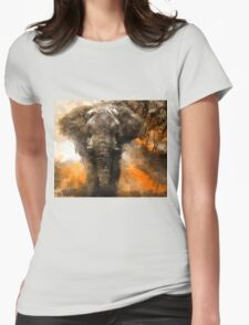 Elephant Study Womens Fitted T-Shirt