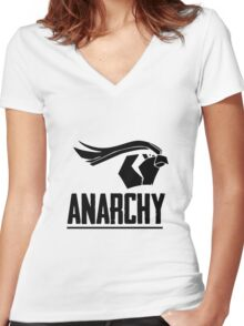 Anarchy (Black Text) Women's Fitted V-Neck T-Shirt