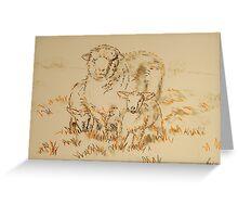 Sheep and Lamb drawing Greeting Card