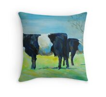 Belted Galloway Cows Painting Throw Pillow