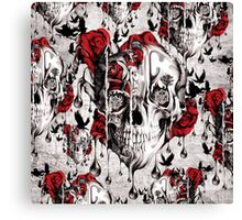 Melt down grunge rose skull Canvas Print