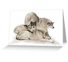 Lazy Day Wolves Greeting Card