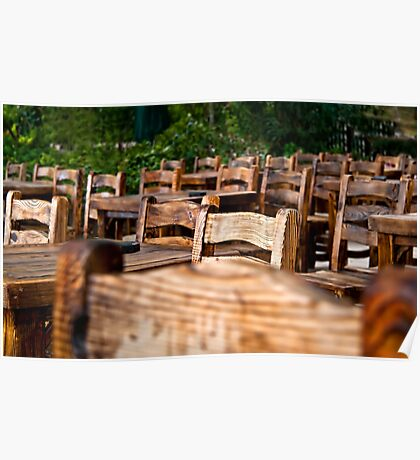 Empty Wooden Chairs and Tables Poster