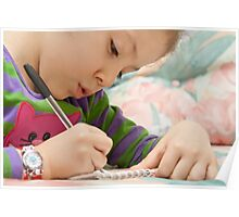 Little Girl Drawing Flowers On A Notebook Poster