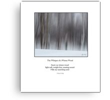Haiku Poster - The Whisper of a Winter Wood Canvas Print
