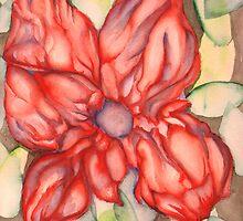 Red Flower Green Leaves by PeterCannonArt