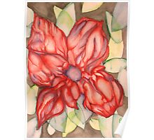 Red Flower Green Leaves Poster